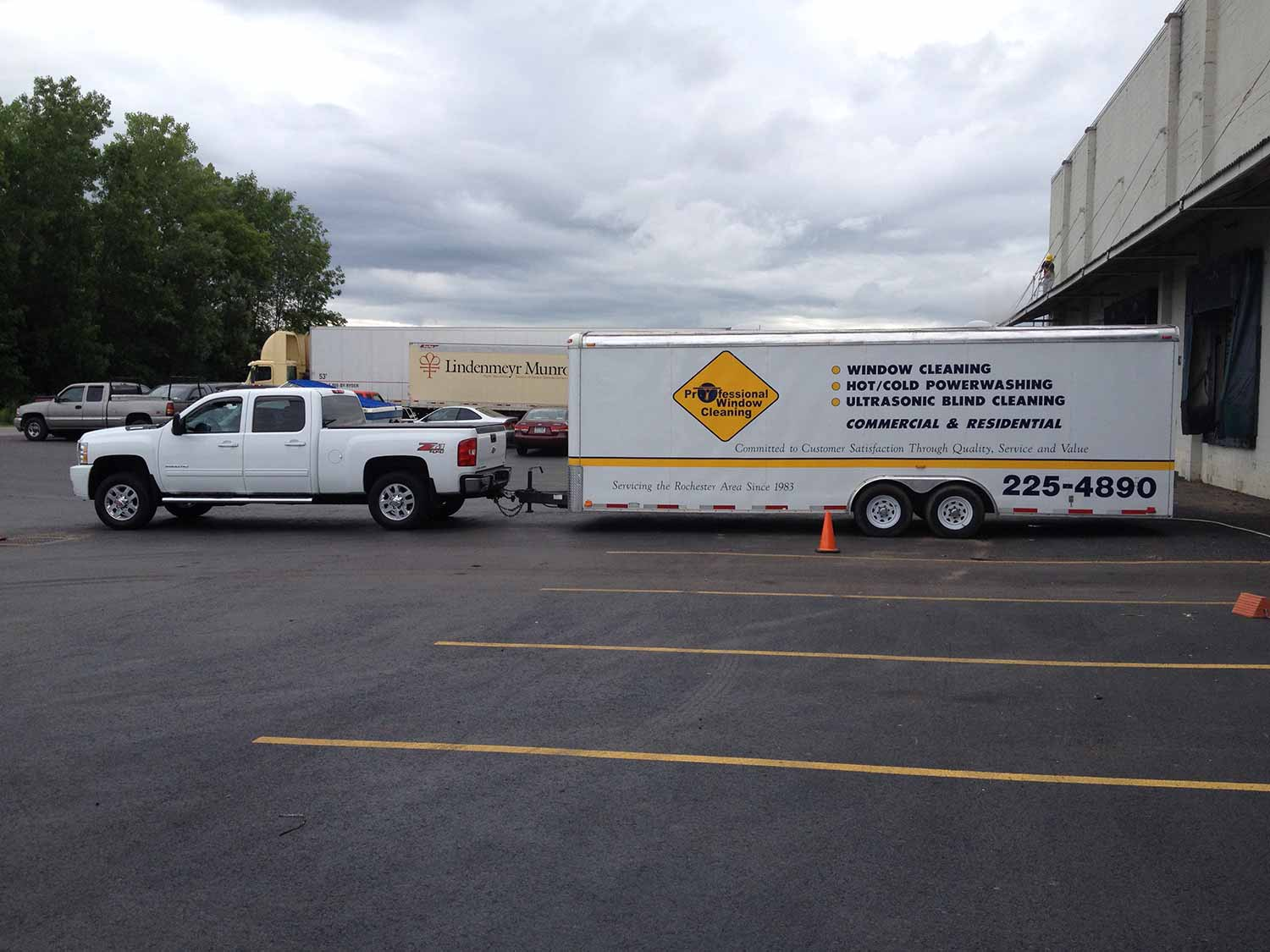 Truck and equipment trailer side view